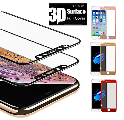 For iPhone X 7 8 Plus Xs Max XR Full Coverage Tempered Glass Screen Protector UK