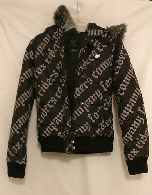 Fox Girls Racing Black Puffer Puff Hooded Jacket Faux Fur Trim ~ Size M