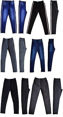 Girls Kids Children Denim Blue Jeggings Stretch Pants Trousers Age 7 to 14 Years