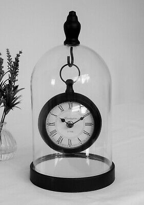 Retro Black Metal Round Vintage Pocket Fob Watch Mantle Clock Glass Dome Cloche