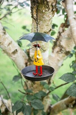 Iron Girl With Umbrella Bird Feeder Unique Feeding Station Small Wild Garden