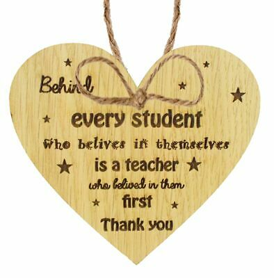 Gift For Teacher And Assistant Thank You Gifts Leaving School Oak Heart Plaque
