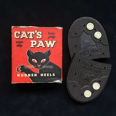 Vintage 1940s Cats Paw Rubber Heels Size 10-11 New Old Stock Brown Half