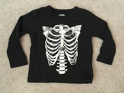 OshKosh Size 18m Boys Black Long Sleeve Skeleton T-Shirt Glow In Dark Halloween
