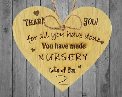 Thank You Nursery Teacher Gift  Sign Pre-school Leaving Present Oak Wooden Heart