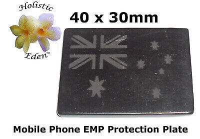 Shungite Phone Plate, Mobile Phone EMF Protection Plate 30mm x 40mm Polished