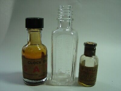 3 Small Antique Or Vintage Watch, Clock Oil Bottles.