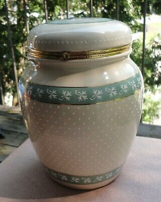 """Knotts Berry Farm 9"""" Ceramic Canister Hinged Lid Swiss Dotted Blueberry Design"""