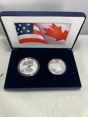2019 Us Mint & Royal Canadian Mint 2 Oz Silver Pride Of Two Nations Silver Eagle