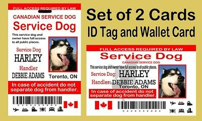 Canadian Service Dog ID Card and Tag, Set of Two Cards, Plastic Cards PVC
