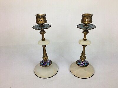 Anique Pair Of French Candlesticks, Gilt Bronze, Champleve Enamel