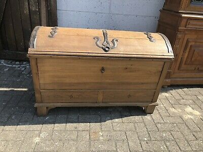 Antique Domed Trunk With Iron Bindings Treasure Chest