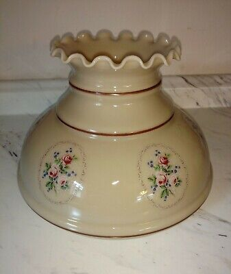 """Large vintage creamy beige with roses glass hurricane lamp shade 10"""" fitter"""