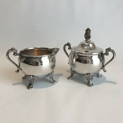 Newport Gorham Silverplate Sugar and Creamer Set YR1056 Excellent No Dents