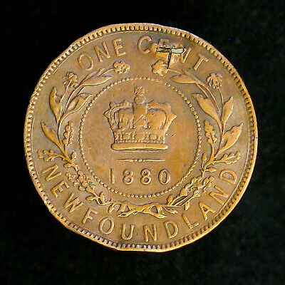 1880 Canada Newfoundland Large Cent KM# 1 Oval 0 RARE variety VF, punched, rim d