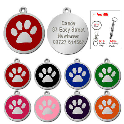 Paw Print Personalised Dog Tags Disc Disk Pet Cat Name ID Collar Tag 8 Colours