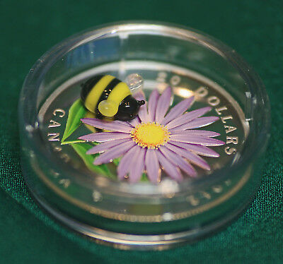 2012 Canada $20 Aster & Bumblebee Murano glass 99.99% silver  - org pkg