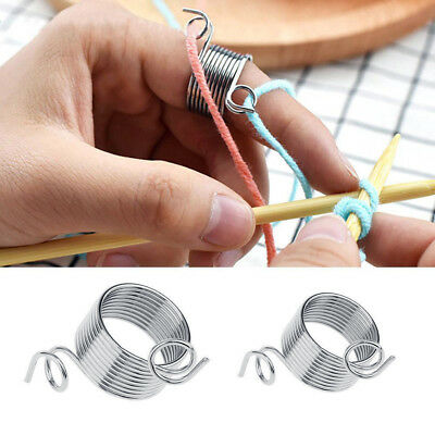 stainless steel knitting tool finger thimble yarn spring stranding guide TTK
