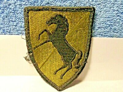 Vintage Army Patch, Green with black border & black horse, nice patch.