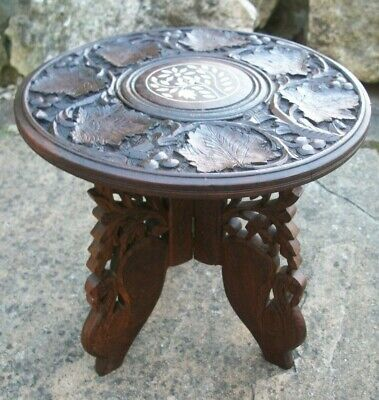 Vintage Anglo/Indian Hand Carved, Folding Wooden Side Table  With Inlaid Top
