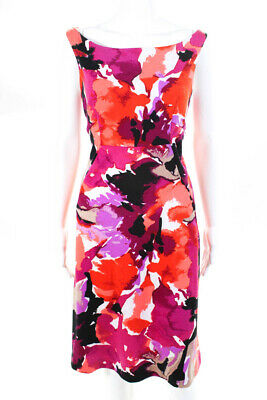 Trina Turk Womens Graphic Floral Dress Pink Red White Size 8 11010911