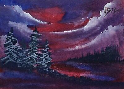 ACEO ATC original art miniature painting ' Red in the Sky ' by Bill Lupton