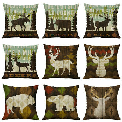 18'' Deer Bear Pillowcase Cotton Linen Home Decorative Pillow Case Cushion Cover