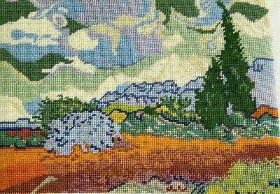 "Finished Needlepoint Canvas WHEATFIELDS CYPRUS TREES Vincent Van Gogh 10¼"" x 7¼"""