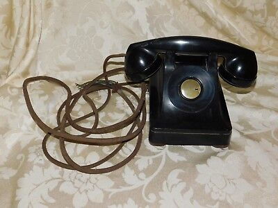 Antique Black Bakelite Bell Electric Telephone w/ Cloth Cord  F1 1937 Rare