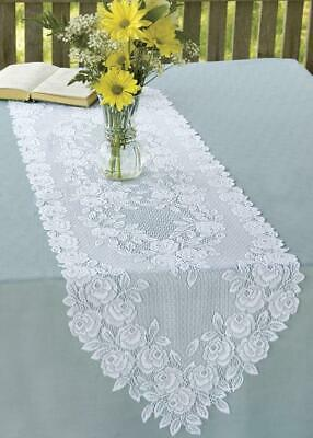 "Heritage Lace White TEA ROSE 14""x 36"""