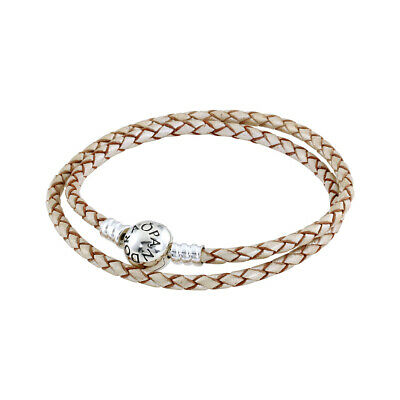 Pandora Double Woven Bracelet Champagne Leather 925 Sterling Silver Charm 13.8''