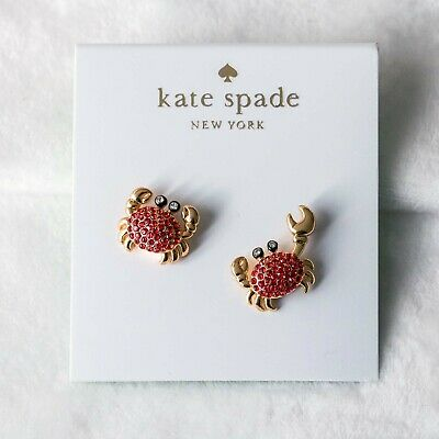 aec02d67fc027 KATE SPADE NY shore thing pave crab Studs Earrings Gold Tone new ...