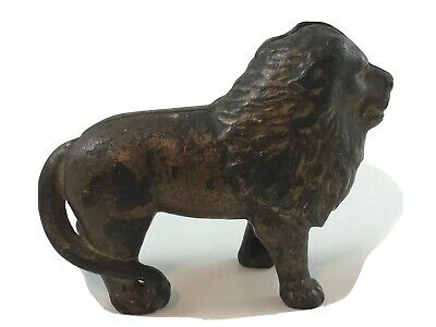 OLD Cast Iron LION Still Coin Bank ANTIQUE Vintage Tail on Right