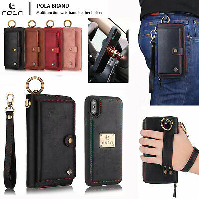 For iPhone XS MAX XR 7 8 Plus Leather Wallet Case Detachable Magnetic Flip Cover