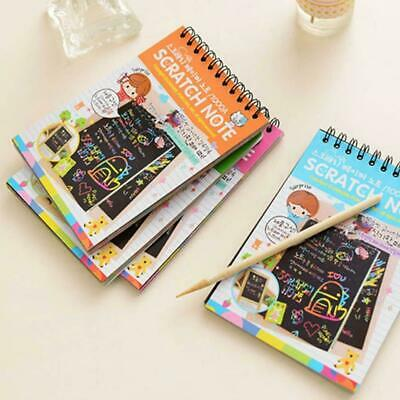 Scratch Scraping Book Art Magic Painting Paper Kid Toy : Drawing Stick K4E3