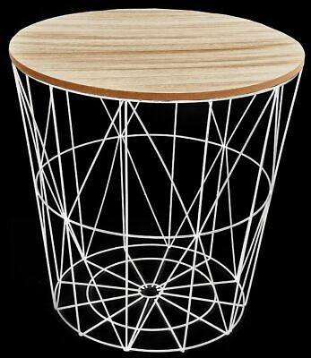 Round White Table Modern Metal Wire &  Wood Lamp Coffee Side End Storage Table