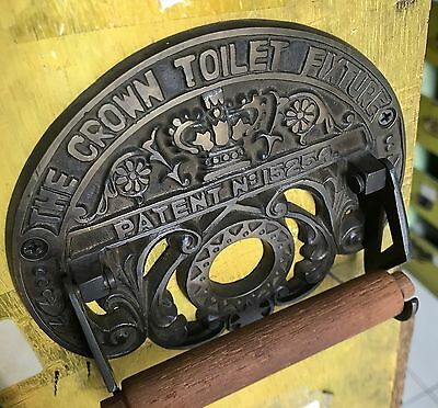 Toilet roll holder vintage style old antique CROWN solid brass heavy fixture B