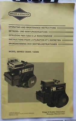 BRIGGS & STRATTON Operating & Maintenance Instructions Models 130200 & 132200