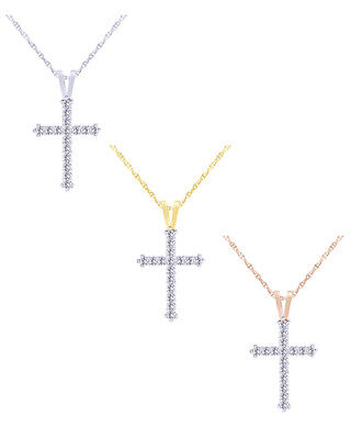 Christmas Special 0.25 Ct Natural Diamond 10K Gold Ladies Cross Pendant Necklace