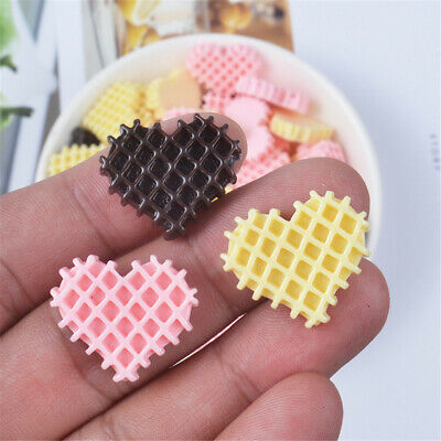 22x19mm Resin Waffle Heart Shaped Cabochons 20pcs Craft Decor Jewelry Making DIY