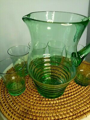 Green glass lemonade tennis set Jug & 6 Glasses