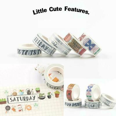 2017 Washi Tape Day of The Week Student Travel DIY Making Decor Ablum Type A5I6