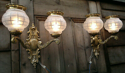 Pair of Antique Gilt Bronze Wall Sconces with Acid Etched Cut Glass Shades