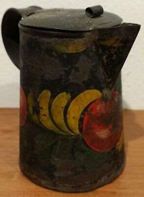 ~ANTIQUE EARLY 1800s SMALL PAINTED TIN TOLE SYRUP PITCHER NEW ENGLAND AAFA~