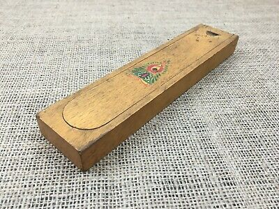Old Vintage Sliding Sectioned Wooden Pencil Stationary Box Case