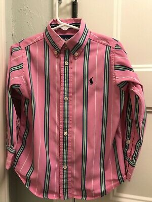Ralph Lauren Shirt Boys Sz 3/3T Pink w/Green & Blue Stripes Button-Down EUC