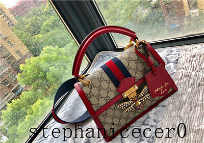 df72b3d05 NEW GUCCI WHITE/RED/BLUE Embellished Queen Margaret Leather Card ...
