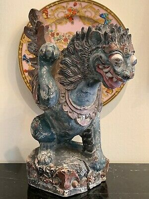Rare Antique Asian Carved Wood Hand Painted Dragon Sculpture