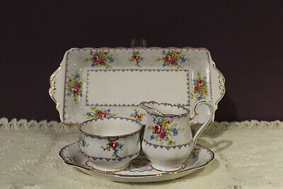 Royal Albert Petit Point Cream Sugar And Oval Tray