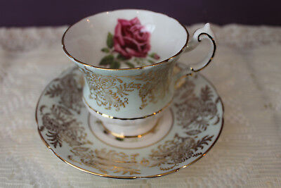Beautiful Paragon Tea Cup And Saucer Pale Green With Pink Rose & Gold Filigree